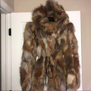 Authentic fur coat w/hood